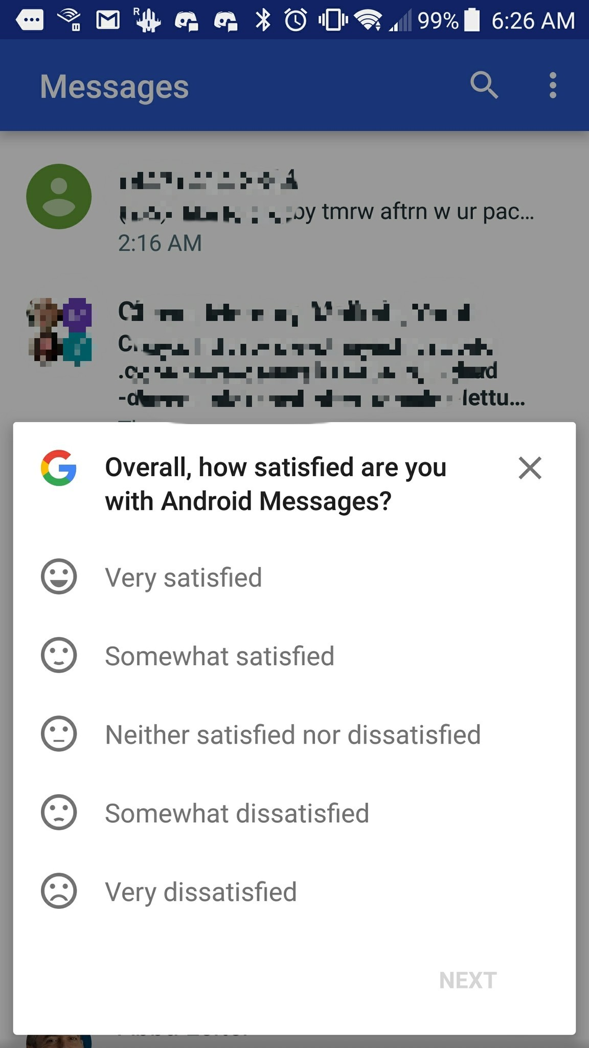 Google survey in Android Messages